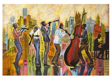 HUGE Abstract PAINTING New Orleans JAZZ LATIN CUBA A (09/24/2009)